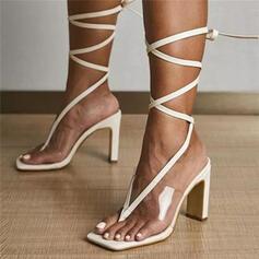 Frauen PU Stämmiger Absatz Sandalen Absatzschuhe Peep Toe Flip Flops Quadratischer Zeh mit Zuschnüren Einfarbig Schuhe