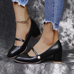 Frauen PU Stämmiger Absatz Absatzschuhe Geschlossene Zehe mit Perle Schnalle Einfarbig Schuhe