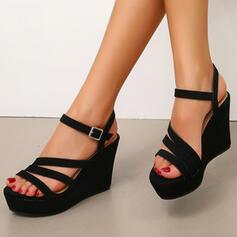 Frauen Veloursleder Keil Absatz Sandalen Keile mit Schnalle Schuhe