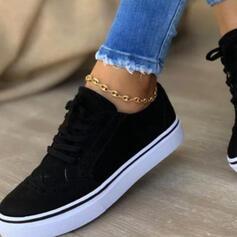 Frauen PU Flascher Absatz Flache Schuhe Low Top Round Toe Espadrille Tanzschuhe mit Zuschnüren Einfarbig Schuhe