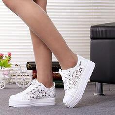 Frauen Mesh Flascher Absatz Flache Schuhe Round Toe mit Zuschnüren Hohl-out Schuhe