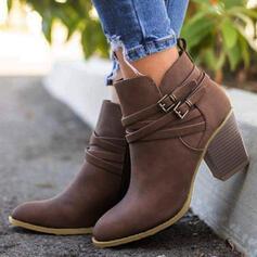 Frauen PU Stämmiger Absatz Stiefelette Spitze mit Schnalle Zuschnüren Schuhe
