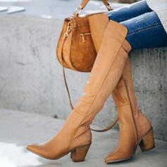 Frauen Kunstleder Stämmiger Absatz Stiefel über Knie Winterstiefel mit Reißverschluss Einfarbig Schuhe