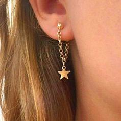 Einfache Stern Legierung Frauen Damen Ohrringe 2 STÜCK