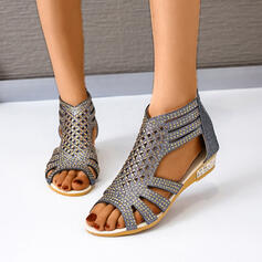 Frauen PU Niederiger Absatz Sandalen Keile Peep Toe Heels mit Hohl-out Schuhe