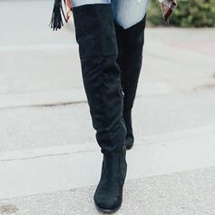 Frauen Veloursleder Stämmiger Absatz Stiefel über Knie Round Toe mit Geraffte Reißverschluss Einfarbig Schuhe