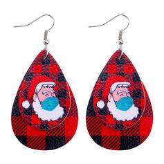 Tropfenform Weihnachten Weihnachten Sankt Überlebende 2020 PU Frauen Ohrringe 2 STÜCK