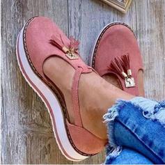 Frauen Kunstleder Flascher Absatz Flache Schuhe mit Quaste Schuhe