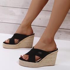 Frauen PU Keil Absatz Sandalen Plateauschuh Keile Peep Toe Pantoffel Heels mit Hohl-out Schuhe