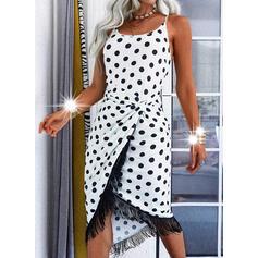 Gepunktet/Quaste Ärmellos Etui Asymmetrisch Freizeit Slips Kleider