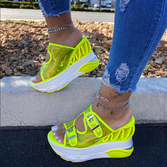 Frauen PU Keil Absatz Sandalen Keile Peep Toe Heels mit Hohl-out Schuhe