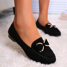 Frauen Veloursleder Flascher Absatz Flache Schuhe Round Toe Rutsche & Maultiere Slipper Schlüpfen mit Bowknot Einfarbig Schuhe