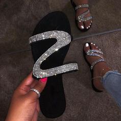Frauen PU Flascher Absatz Sandalen Flache Schuhe Peep Toe Pantoffel mit Pailletten Schuhe