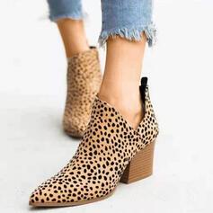 Frauen Kunstleder Stämmiger Absatz Sandalen Geschlossene Zehe Slingpumps Stiefelette High Top Spitze mit Tierdruckmuster Schuhe