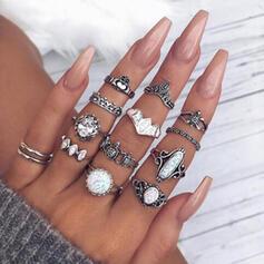 Exotisch Legierung mit Strasssteine Ringe (Set von 12)