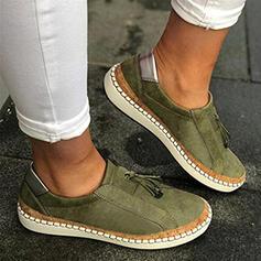 Frauen Leinwand Flascher Absatz Flache Schuhe Low Top Round Toe Slipper Schlüpfen mit Zuschnüren Spleißfarbe Schuhe