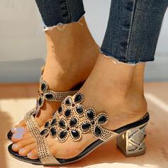 Frauen PU Stämmiger Absatz Sandalen Flache Schuhe Peep Toe Pantoffel mit Strass Schuhe