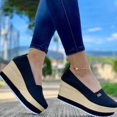 Frauen Stoff Mesh Keil Absatz Sandalen Keile Peep Toe Heels mit Einfarbig Schuhe
