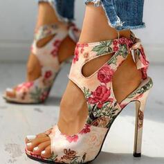 Frauen PU Stöckel Absatz Sandalen Absatzschuhe Peep Toe Spitze mit Hohl-out Blume Spleißfarbe Schuhe
