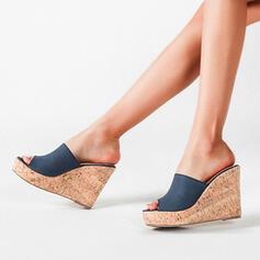 Frauen Mikrofaser Keil Absatz Peep Toe Schuhe