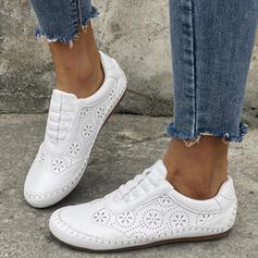 Frauen PU Flascher Absatz Flache Schuhe Low Top Round Toe Slipper mit Hohl-out Einfarbig Schuhe