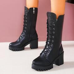 Frauen PU Stämmiger Absatz Stiefel-Wadenlang Round Toe Martin Stiefel mit Zuschnüren Einfarbig Schuhe
