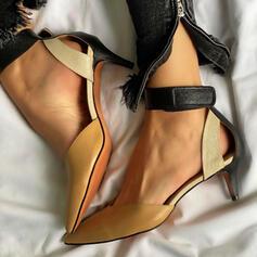 Frauen PU Stöckel Absatz Sandalen Absatzschuhe Geschlossene Zehe Spitze mit Hohl-out Spleißfarbe Schuhe