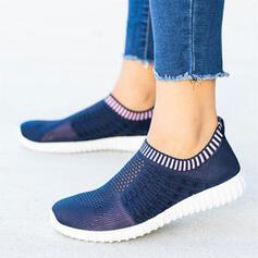 Frauen Fliegende Webart Flascher Absatz Flache Schuhe Low Top Round Toe Tanzschuhe Schlüpfen mit Spleißfarbe Streifen Schuhe
