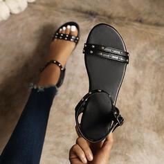 Frauen PU Flascher Absatz Sandalen Flache Schuhe Peep Toe mit Niete Schnalle Schuhe