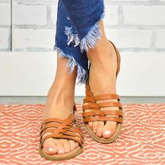 PU Flascher Absatz Sandalen Flache Schuhe Peep Toe Pantoffel mit Schnalle Schuhe