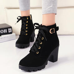 Frauen PU Stämmiger Absatz Absatzschuhe Geschlossene Zehe Stiefel mit Schnalle Zuschnüren Schuhe