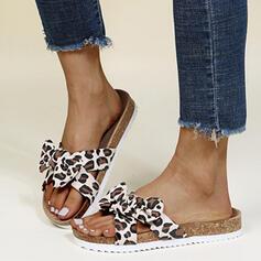 Frauen PU Flascher Absatz Sandalen Flache Schuhe Peep Toe Pantoffel mit Bowknot Spleißfarbe Schuhe