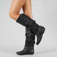 Frauen PU Niederiger Absatz Stiefel-Wadenlang mit Geraffte Schuhe