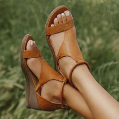 Frauen Kunstleder Keil Absatz Sandalen Keile Peep Toe Heels mit Schnalle Schuhe
