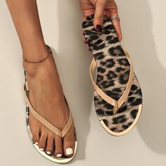 Frauen PVC Flascher Absatz Sandalen Flache Schuhe Peep Toe Flip Flops Pantoffel Round Toe mit Tierdruckmuster Schuhe