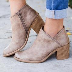 Frauen PU Stämmiger Absatz Stiefel Stiefelette Round Toe mit Reißverschluss Einfarbig Schuhe