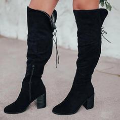 Frauen Veloursleder Stämmiger Absatz Stiefel über Knie Reitstiefel Round Toe mit Reißverschluss Zuschnüren Einfarbig Schuhe
