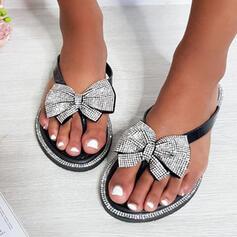 Frauen PU Flascher Absatz Sandalen Flache Schuhe Peep Toe Flip Flops Pantoffel mit Bowknot Hohl-out Schuhe