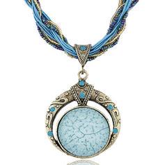 Jahrgang Legierung Harz Perlen Frauen Halsketten