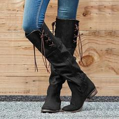 Frauen PU Stämmiger Absatz Kniehocher Stiefel Round Toe mit Reißverschluss Quaste Schuhe