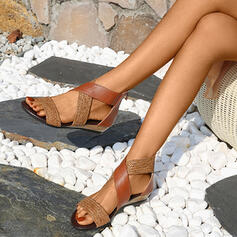Frauen Kunstleder Flascher Absatz Sandalen Flache Schuhe Peep Toe mit Zweiteiliger Stoff Schuhe