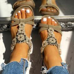 Frauen PU Flascher Absatz Sandalen Flache Schuhe Peep Toe mit Strass Blume Schuhe