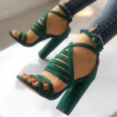 Frauen Veloursleder Sandalen Absatzschuhe Peep Toe Heels mit Schnalle Schuhe