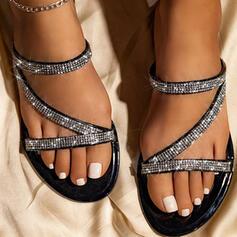 Frauen PU Flascher Absatz Sandalen Flache Schuhe Peep Toe Pantoffel mit Strass Hohl-out Schuhe