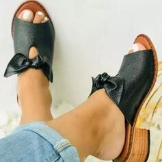 Frauen PU Stämmiger Absatz Sandalen Absatzschuhe Peep Toe Pantoffel Heels Round Toe mit Bowknot Einfarbig Schuhe