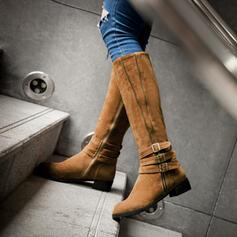 Frauen PU Niederiger Absatz Stiefel-Wadenlang Round Toe mit Geraffte Einfarbig Schuhe