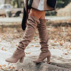 Frauen Veloursleder Stämmiger Absatz Stiefel über Knie Spitze mit Zuschnüren Einfarbig Schuhe