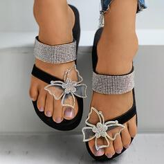 Frauen Kunstleder Seide wie Satin Flascher Absatz Sandalen Flache Schuhe Flip Flops Pantoffel Zehenring mit Strass Schmetterling Schuhe