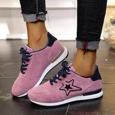 Frauen Veloursleder Flascher Absatz Flache Schuhe Low Top Round Toe Tanzschuhe mit Zuschnüren Spleißfarbe Schuhe