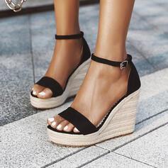 Frauen PU Keil Absatz Sandalen Absatzschuhe Plateauschuh Keile Peep Toe Heels mit Schnalle Einfarbig Schuhe